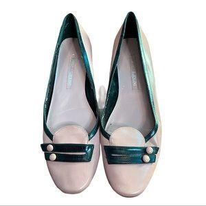 Enzo Angiolini Pink/Black Leather Kitten Heels 7M